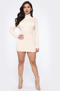 In The Long Run Sweater Micro Mini Dress - White