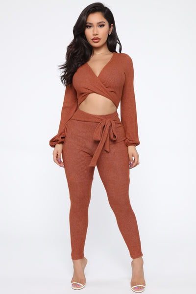 V-neck Polyester Sweater Cutout Jumpsuit