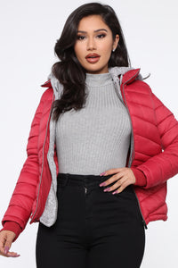 I Got This Puffer Jacket - Red Angle 1