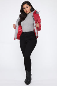 I Got This Puffer Jacket - Red Angle 2