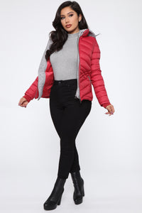 I Got This Puffer Jacket - Red Angle 4