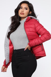 I Got This Puffer Jacket - Red Angle 3