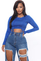 In The Ruche Of Things Crop Top - Royal