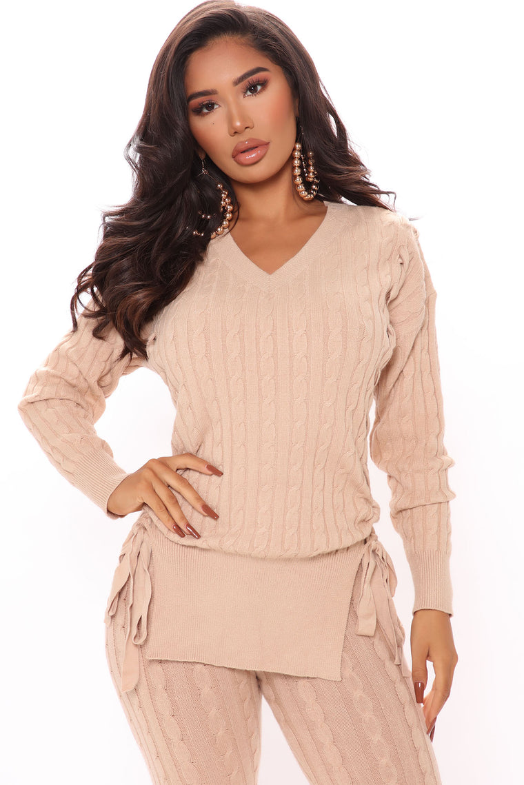 Alessandra Lace Up Tunic Sweater - Beige