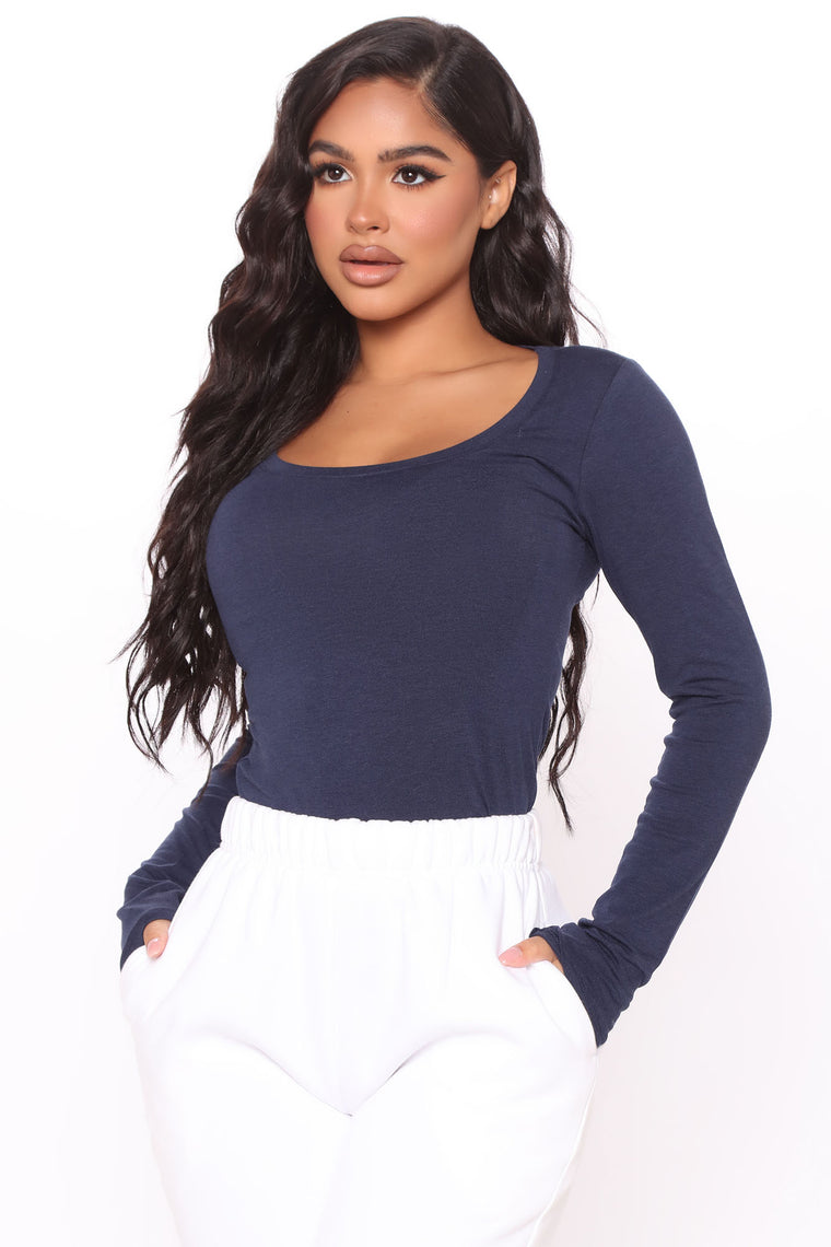 Briana Long Sleeve Top - Navy