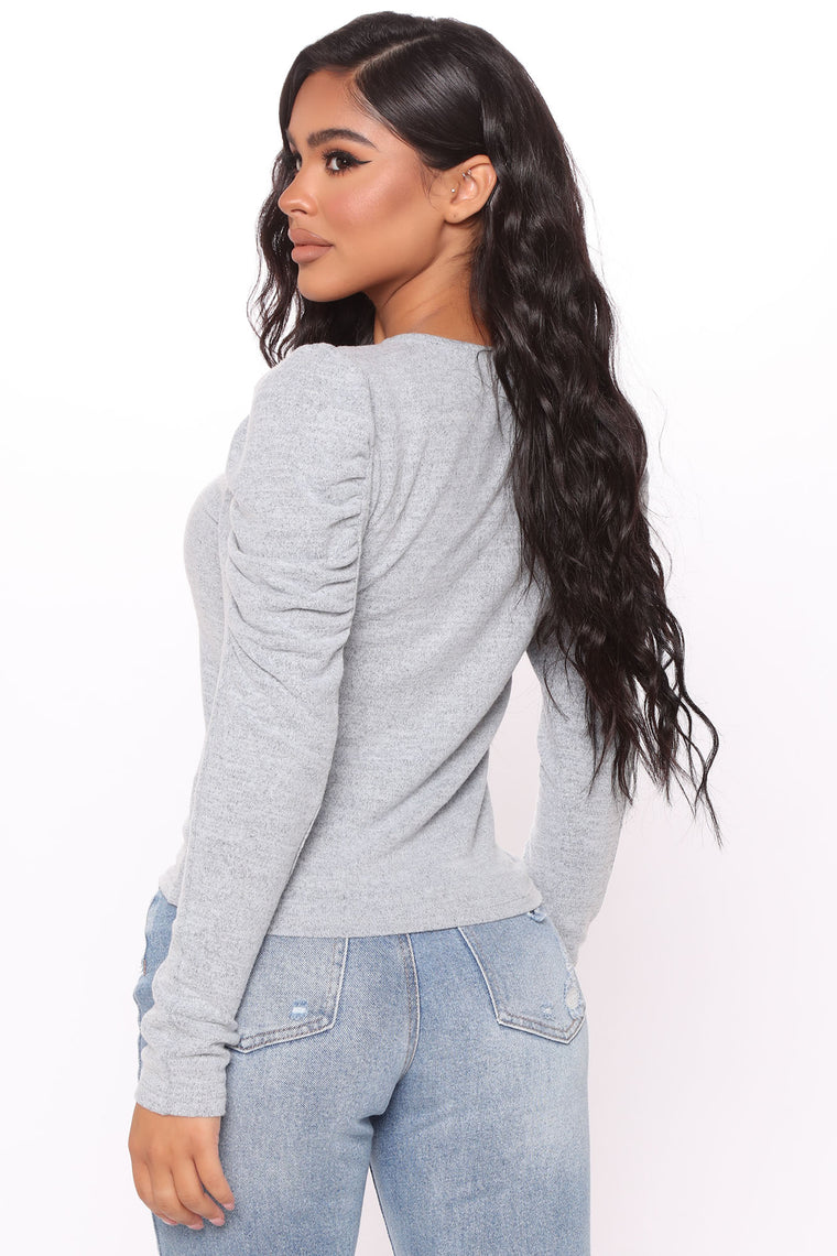 Abrielle Long Sleeve Top - Grey