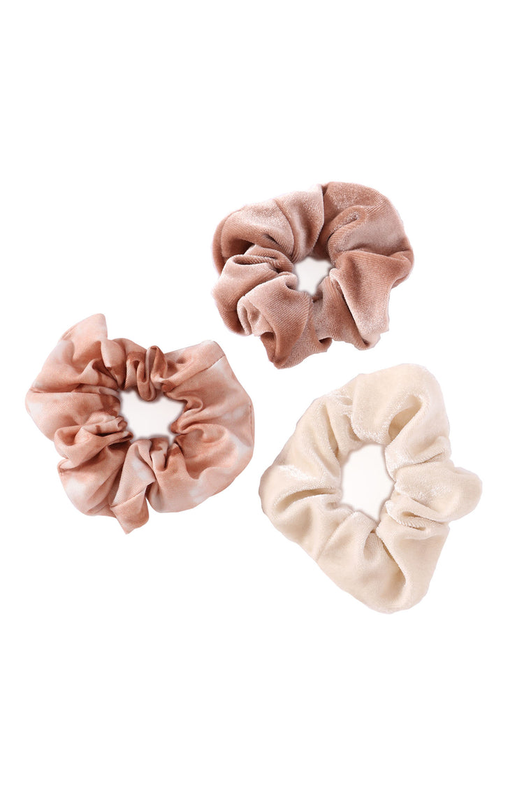 Cotton Candy Girl Scrunchie Set - Nude/combo