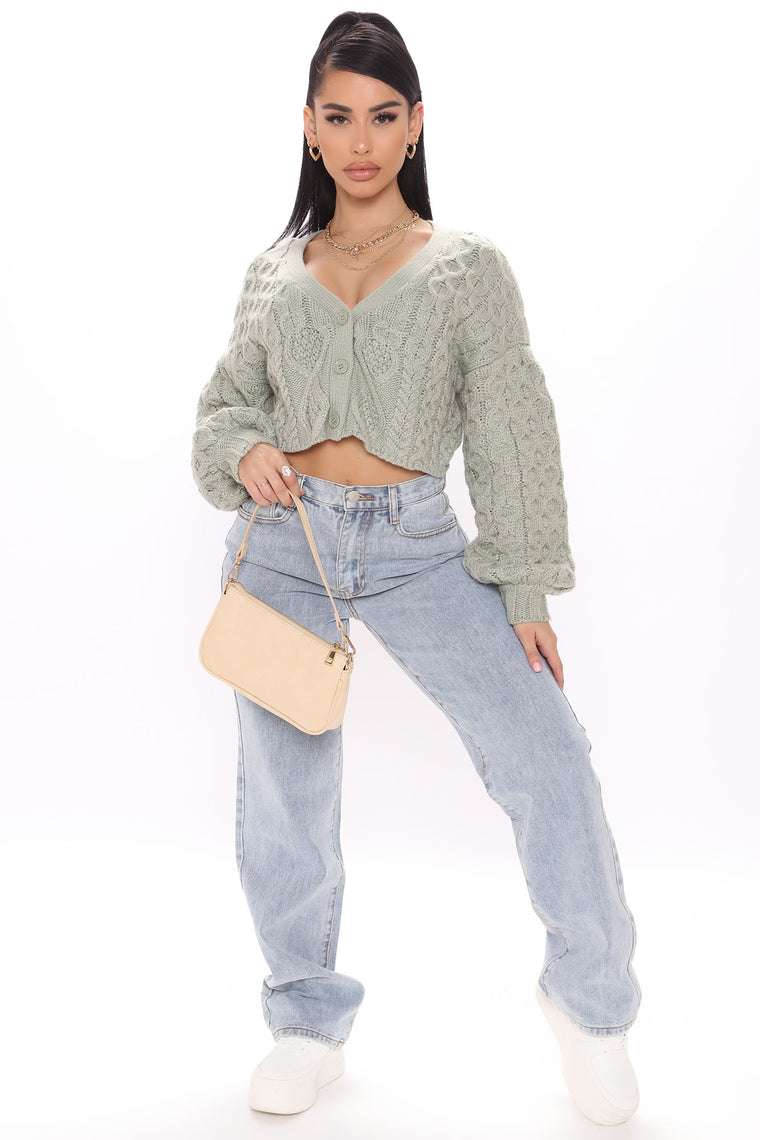 Got Knit Right Cropped Cardigan Sweater - Sage