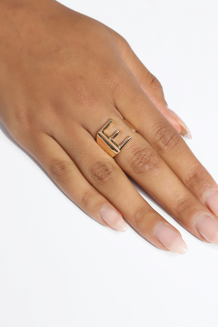 "Initial Here ""E"" Ring - Gold"
