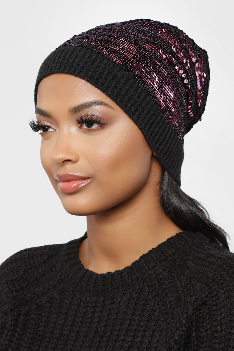 Follow The Sequins Beanie - Pink/Black