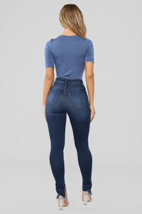 Drop The Basic Bodysuit - Vintage Blue Angle 6