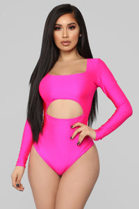 Cutting To The Chase Long Sleeve Bodysuit - Fuchsia Angle 1