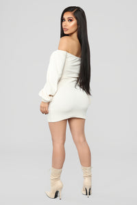 Baby I'm In Love Ruched Dress - Cream