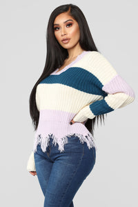 Ashley Stripe Sweater - Lavender/Combo