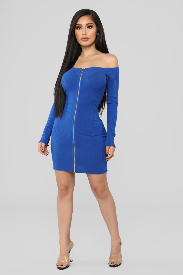 Day To Night Off Shoulder Dress - Royal