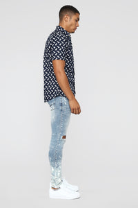 One Time Short Sleeve Woven Top - Blue/White