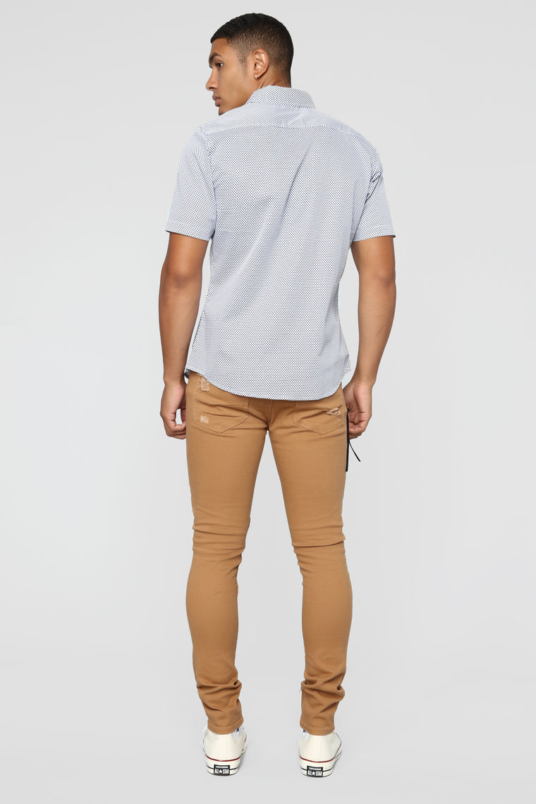 Frank Short Sleeve Woven Top - White/combo