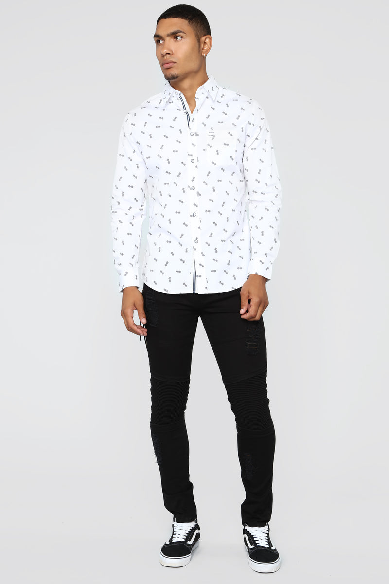Sweet Life Long Sleeve Woven Top - White/Black