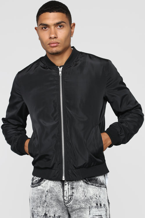 Essential Nylon Bomber - Black