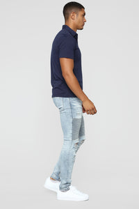 Certain Skinny Jeans - Medium Blue Wash Angle 4