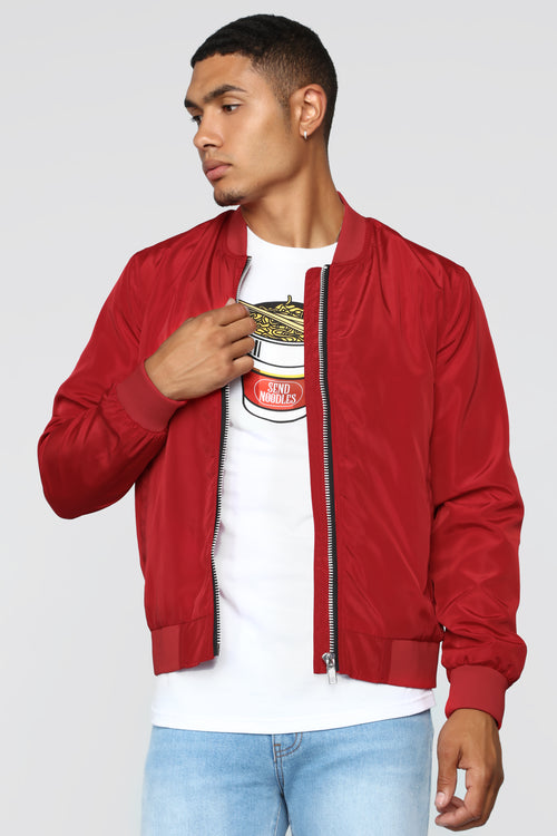 Essential Nylon Bomber - Red