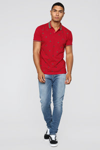 Stars Short Sleeve Polo - Red