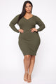 The Simplest Things Henley Midi Dress - Olive