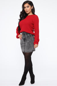 Ariana Waffle Sweater - Red