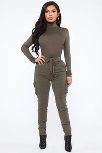 Pamela Turtle Neck Long Sleeve Top - Olive Angle 2