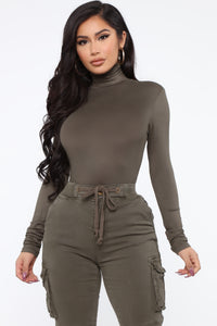 Pamela Turtle Neck Long Sleeve Top - Olive Angle 1