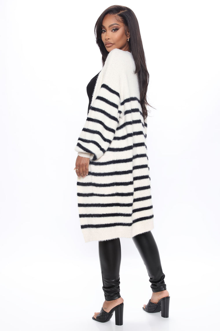 Feelin' Fine Striped Cardigan - Cream/combo