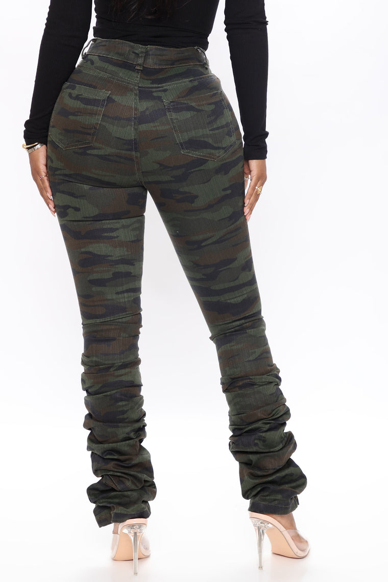 Real Life Fantasy Camo Stacked Jeans - Camouflage