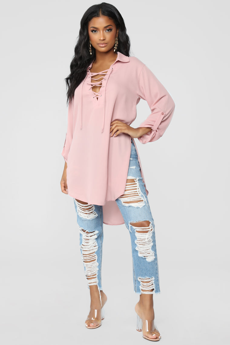 All Mine Lace Up Tunic - Dusty/Rose