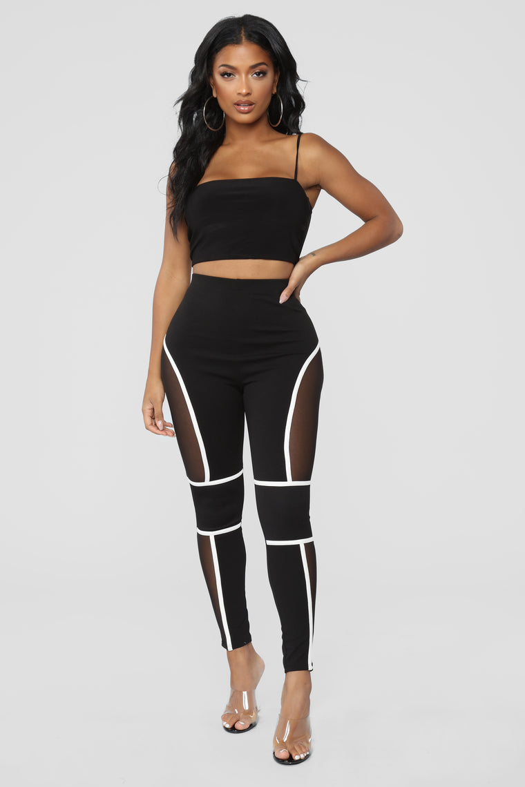 Give Me A Running Start Leggings - Black/White