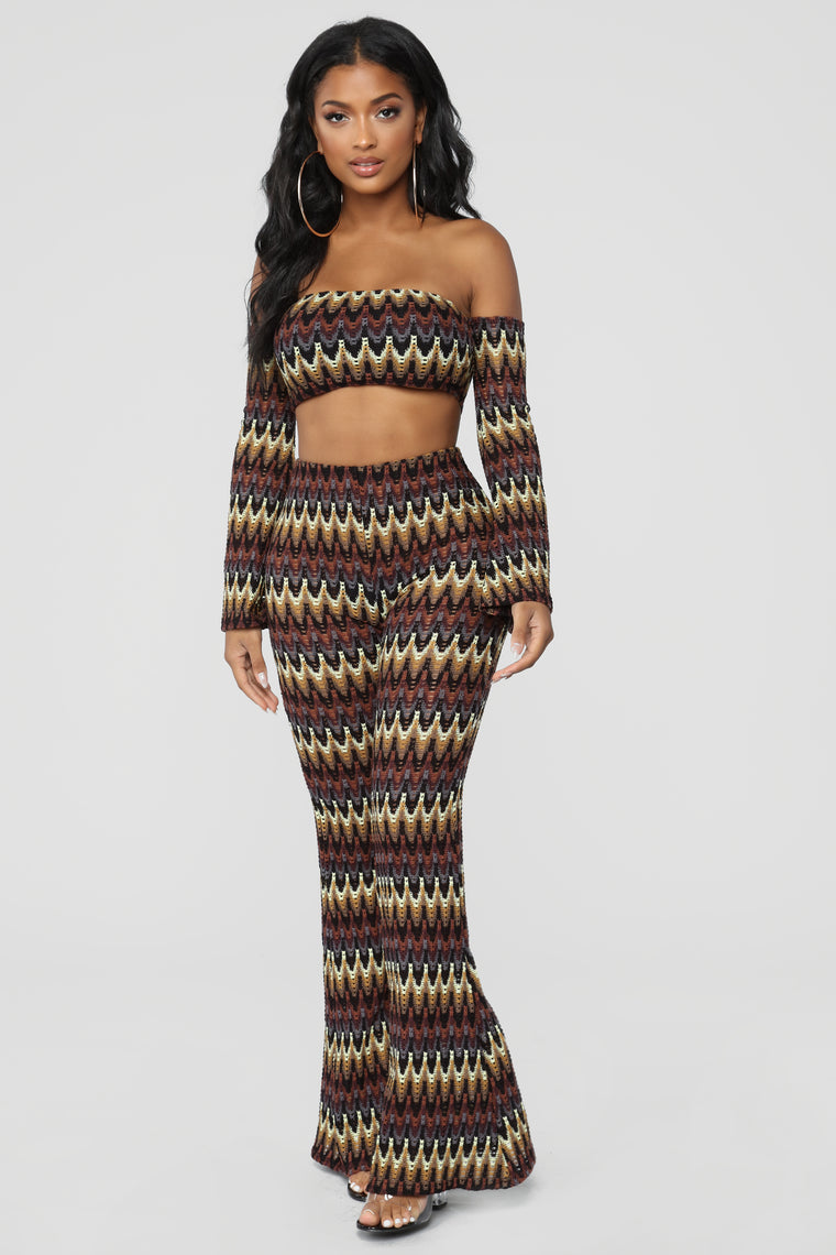 Out Of Control Pant Set - Brown/Multi