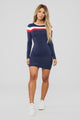 Most Popular Color Block Dress - Navy