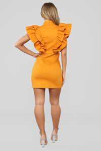 Just Wait And See Dress - Mustard Angle 5