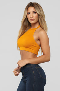 Heather Halter Crop Top - Mustard