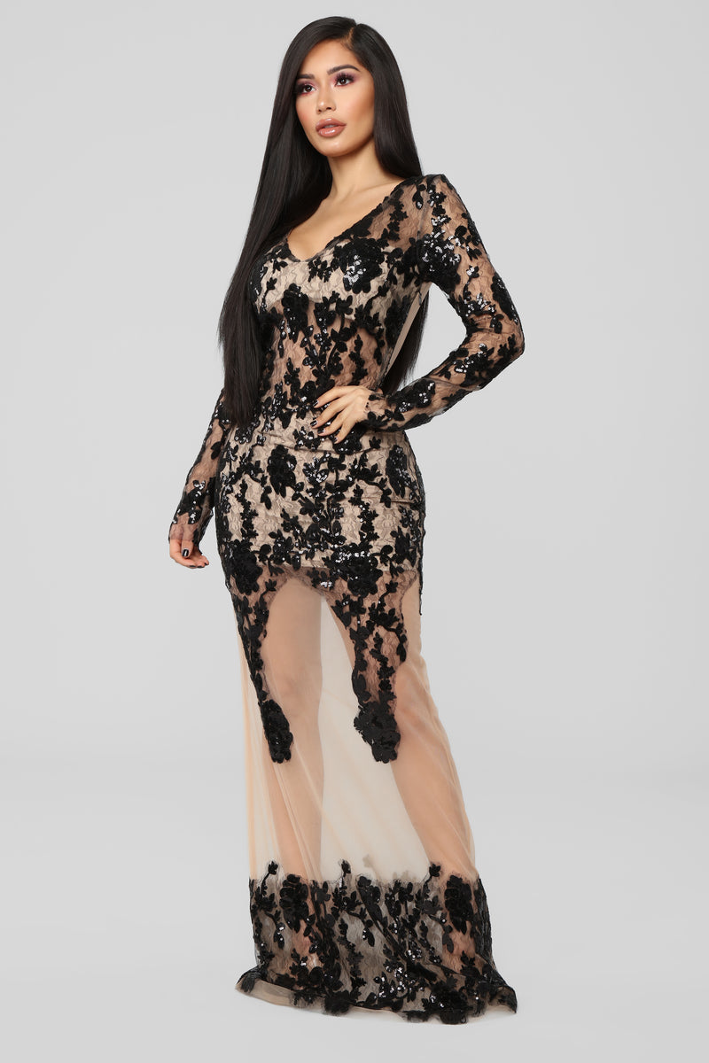 Lingering Desire Embroidered Dress - Black/Nude