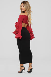 Romey Ruffle Top - Burgundy