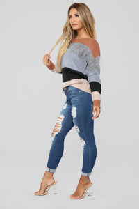 Digging For Gold Distressed Jeans - Dark Denim