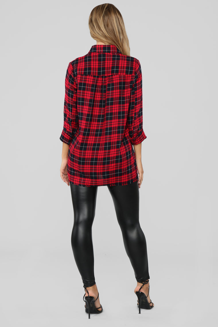 Zip Me Down Plaid Tunic - Red/combo