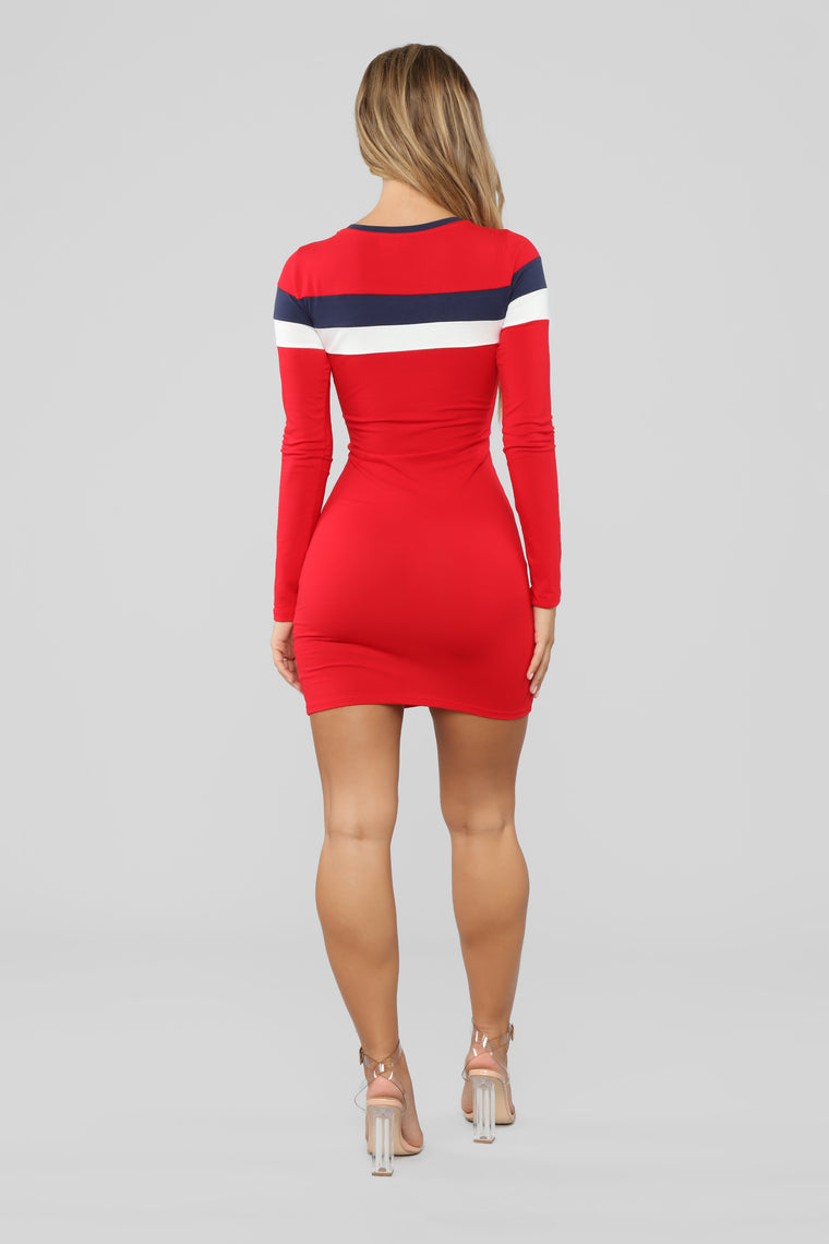 Most Popular Color Block Dress - Red