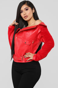 Here For A Good Time Moto Jacket - Red