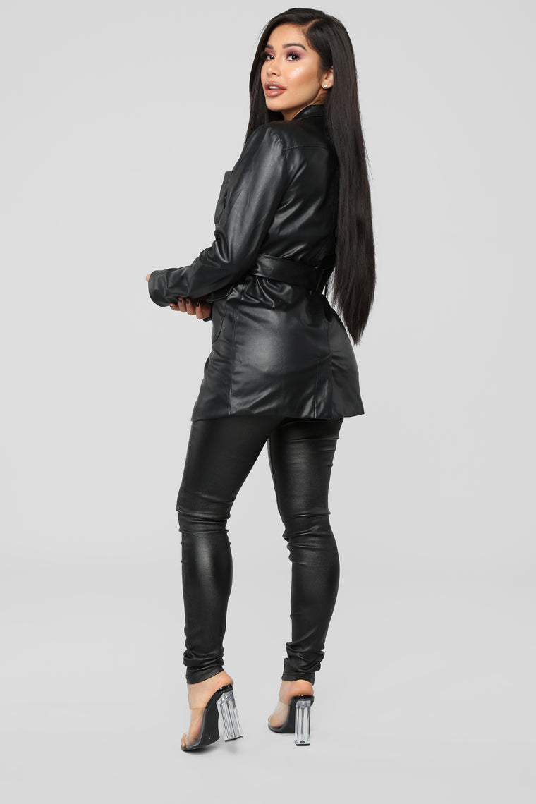 Either Way Belted Jacket - Black