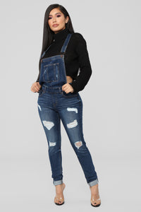 Ruby Distressed Denim Overalls - Dark Denim Angle 3