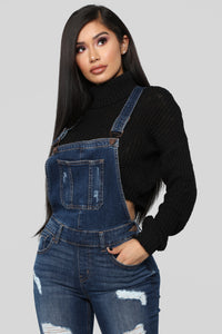 Ruby Distressed Denim Overalls - Dark Denim Angle 2