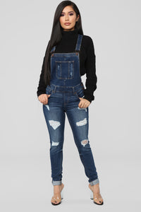 Ruby Distressed Denim Overalls - Dark Denim Angle 1
