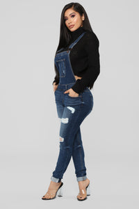 Ruby Distressed Denim Overalls - Dark Denim Angle 5