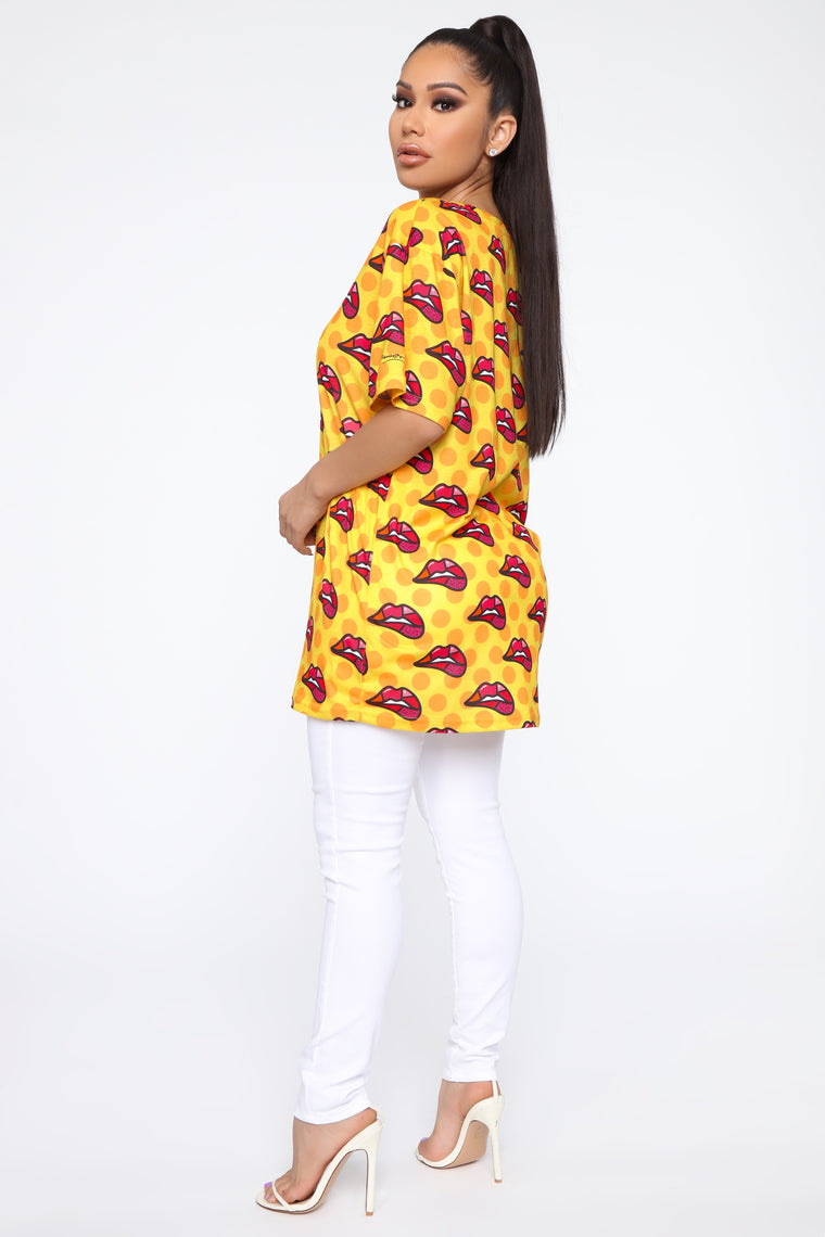 You Know You Want It Oversized Tee - Yellow/Combo